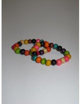 Træarmbånd, Multifarvet med lille perle