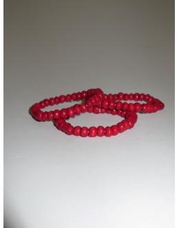 Træarmbånd, Rød med lille perle