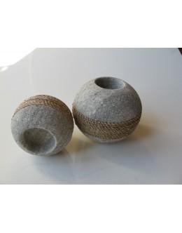 Kugle lysholder i sten