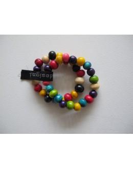 Træarmbånd, Multifarvet med stor perle