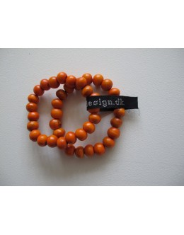 Træarmbånd, Orange med stor perle