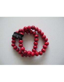 Træarmbånd, Rød med stor perle